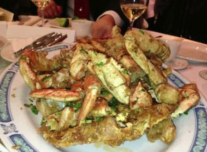 Deep fried salty spiced crab stole the show
