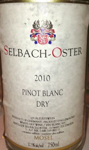 Selbach Pinot Blanc - Subtle oak makes this an ideal seafood companion