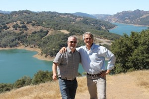 Tony Stewart and Dan Zepponi celebrate their latest joint venture, overlooking Lake Sonoma (image supplied)