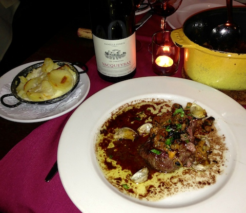 La Régalade lamb sirloin with beef bourguignon tureen and potato side dish